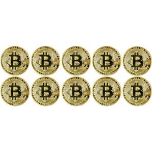 10x Moneta Bitcoin Złota
