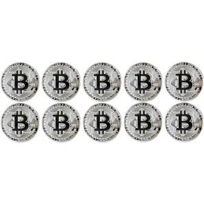 10x Moneta Bitcoin Srebrna