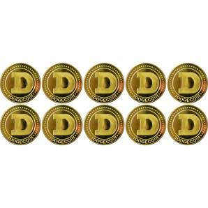10x Moneta Dogecoin Złota