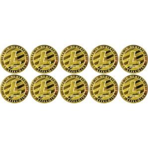 10x Moneta Litecoin Złota