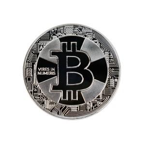 Moneta Bitcoin Krzyż srebrna