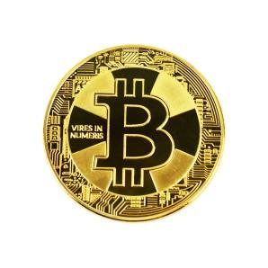 Moneta Bitcoin Krzyż złota