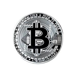 Moneta Bitcoin srebrna