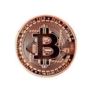 Moneta Bitcoin brązowa
