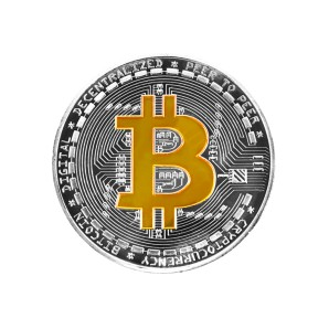 Moneta Bitcoin złoto-srebrna