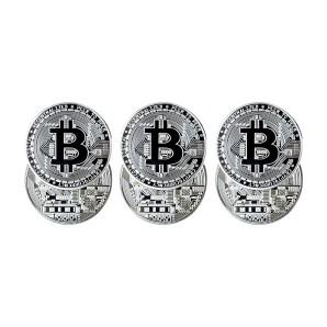 Zestaw monet Bitcoin Srebrny