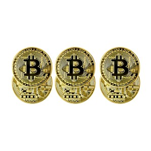 Gold Bitcoin coins set