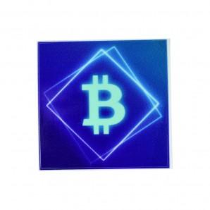 3x Naklejka Bitcoin Blue