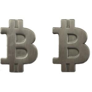 Bitcoin Pin mat silver