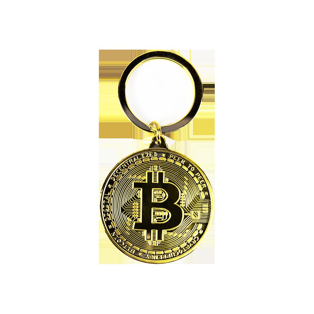Bitcoin brass keyring gold