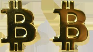 Przypinka z mosiądzu Bitcoin Złoty Połysk