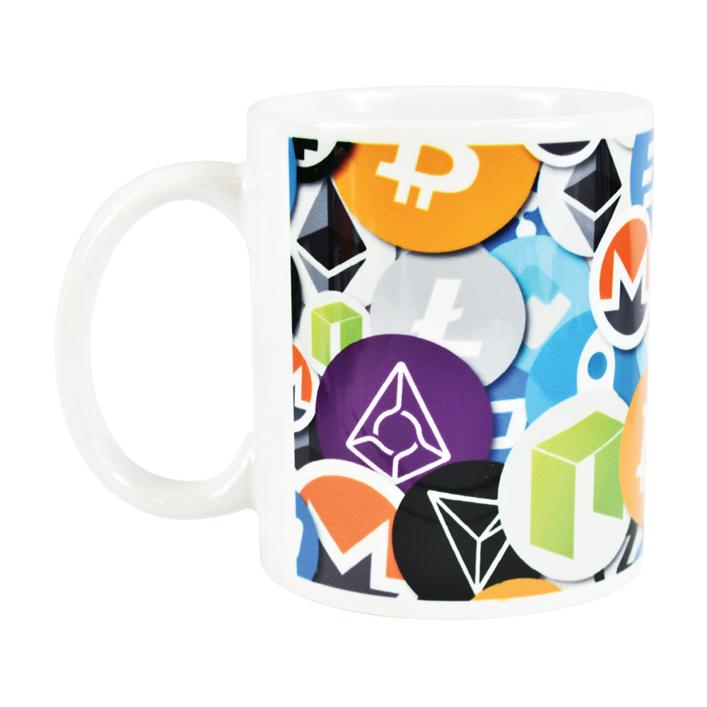 Ceramic mug with most popular cryptocurrencies  logo