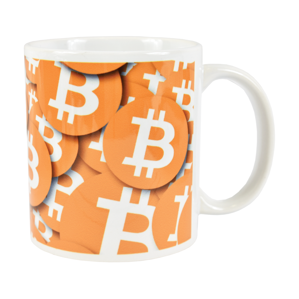 Ceramic mug with Bitcoin logo