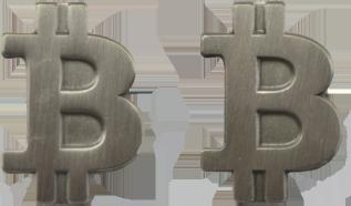 Przypinka z mosiądzu Bitcoin Srebrny Matowy