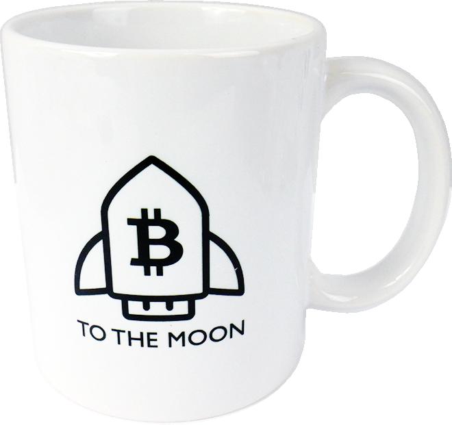 Ceramic mug with Bitcoin TO THE MOON  logo