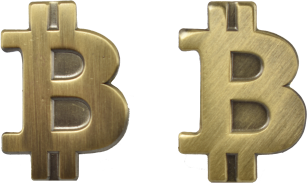 Brass gold matt pin Bitcoin