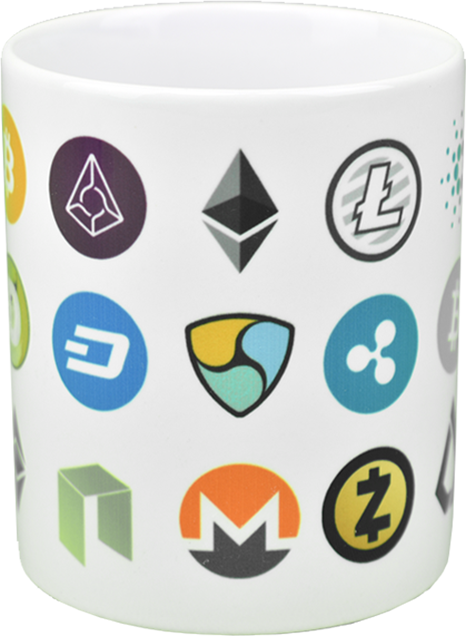 Ceramic mug with the most popular cryptocurrencies  logo