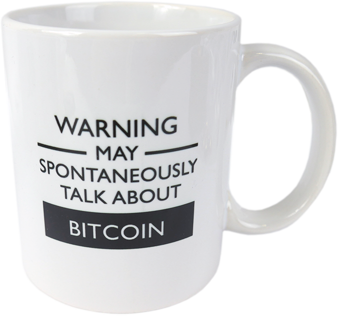 Ceramic mug with Bitcoin WARNING  logo